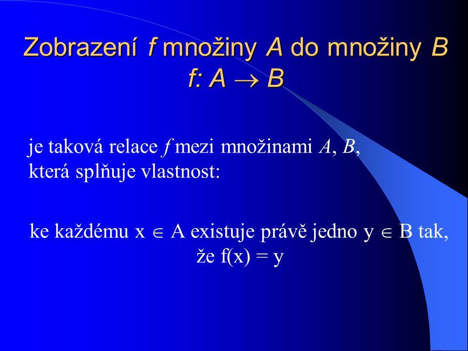 Zobrazení f množiny A do množiny B f: A  B