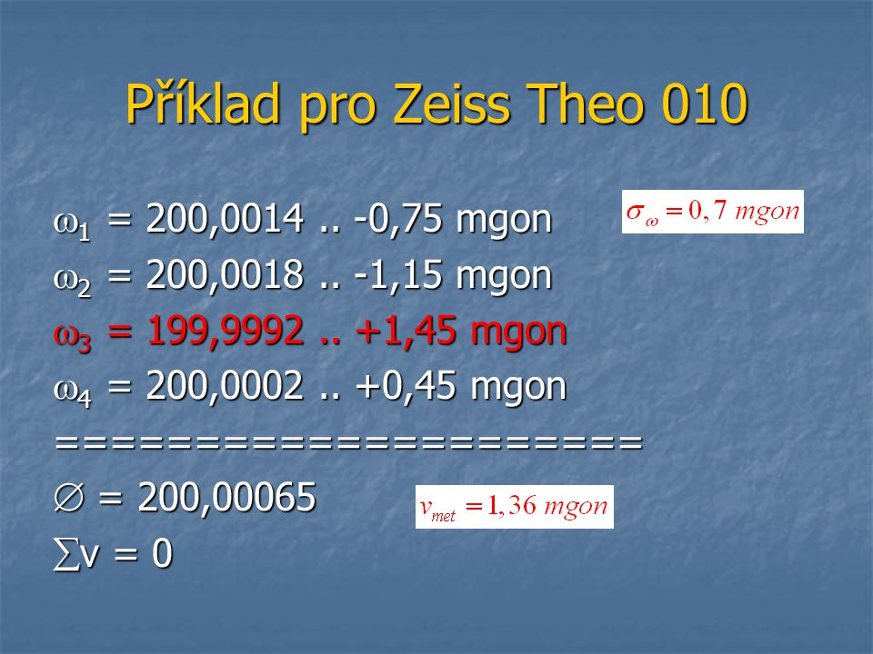 Příklad pro Zeiss Theo 010 1 = 200, ,75 mgon