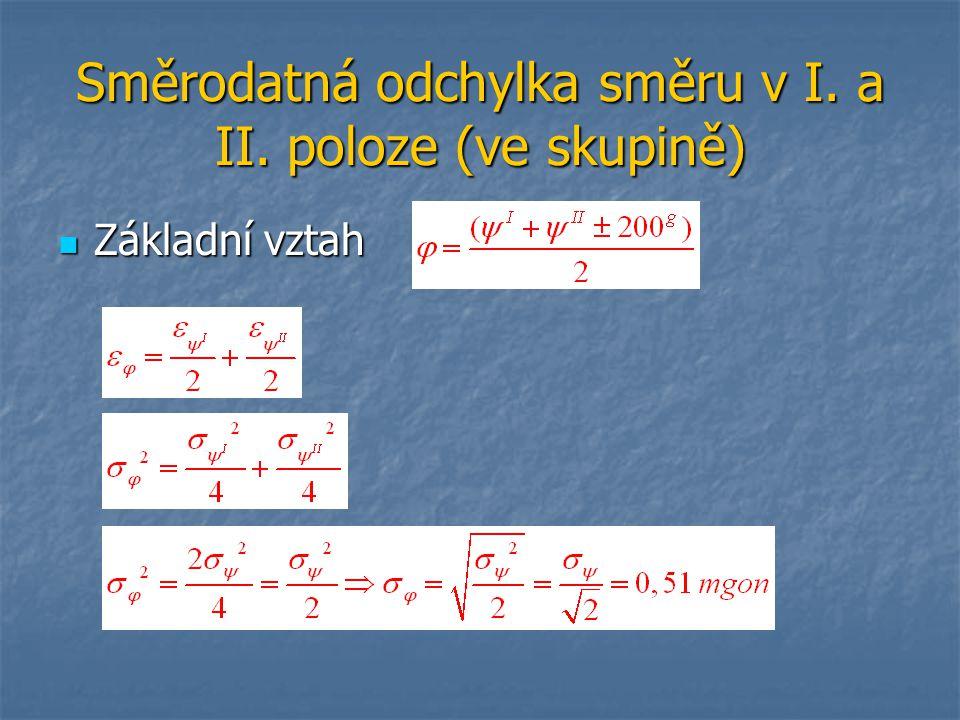 Směrodatná odchylka směru v I. a II. poloze (ve skupině)