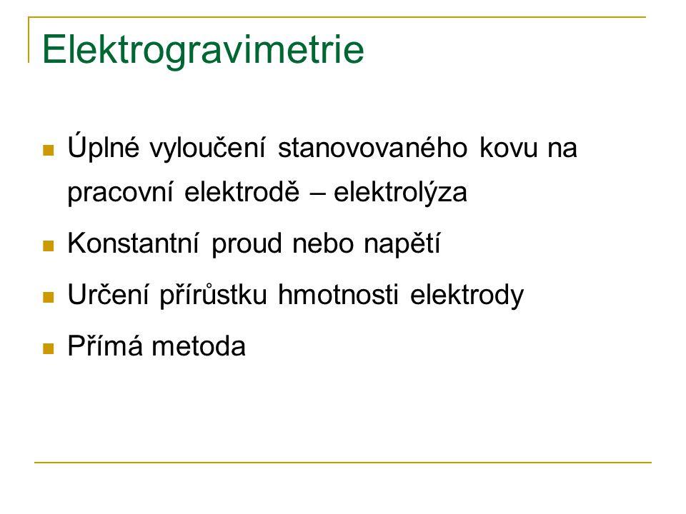 Elektrogravimetrie Úplné vyloučení stanovovaného kovu na pracovní elektrodě – elektrolýza. Konstantní proud nebo napětí.