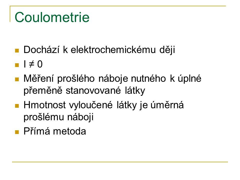 Coulometrie Dochází k elektrochemickému ději I ≠ 0
