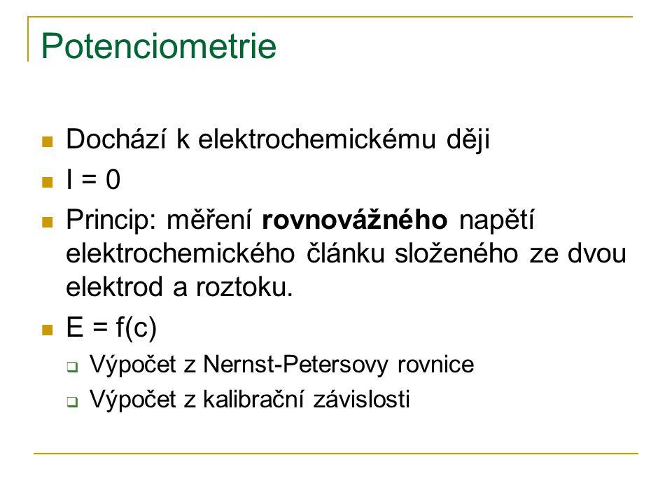 Potenciometrie Dochází k elektrochemickému ději I = 0