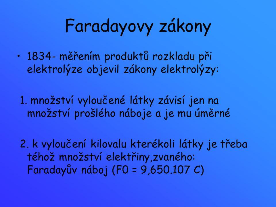 Faradayovy zákony 1834- měřením produktů rozkladu při elektrolýze objevil zákony elektrolýzy: