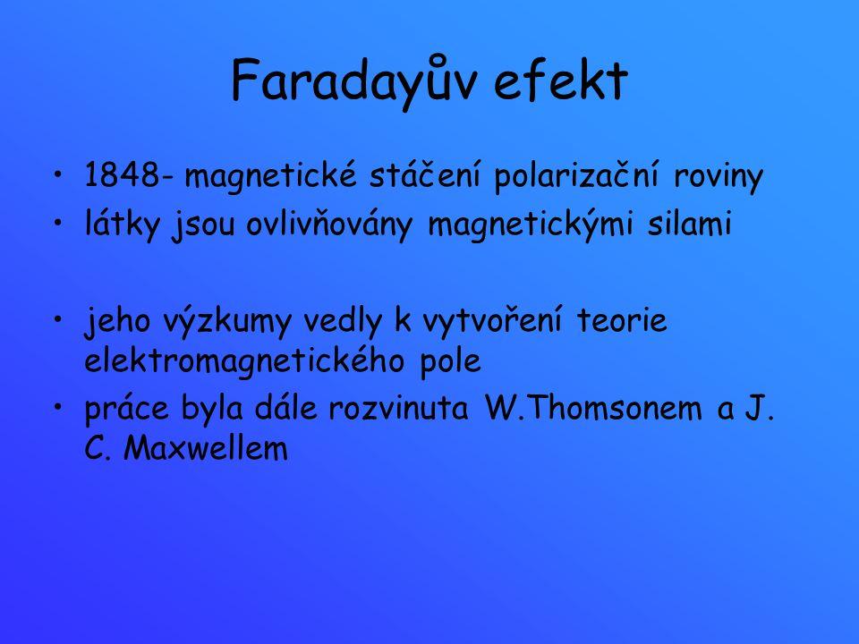 Faradayův efekt 1848- magnetické stáčení polarizační roviny