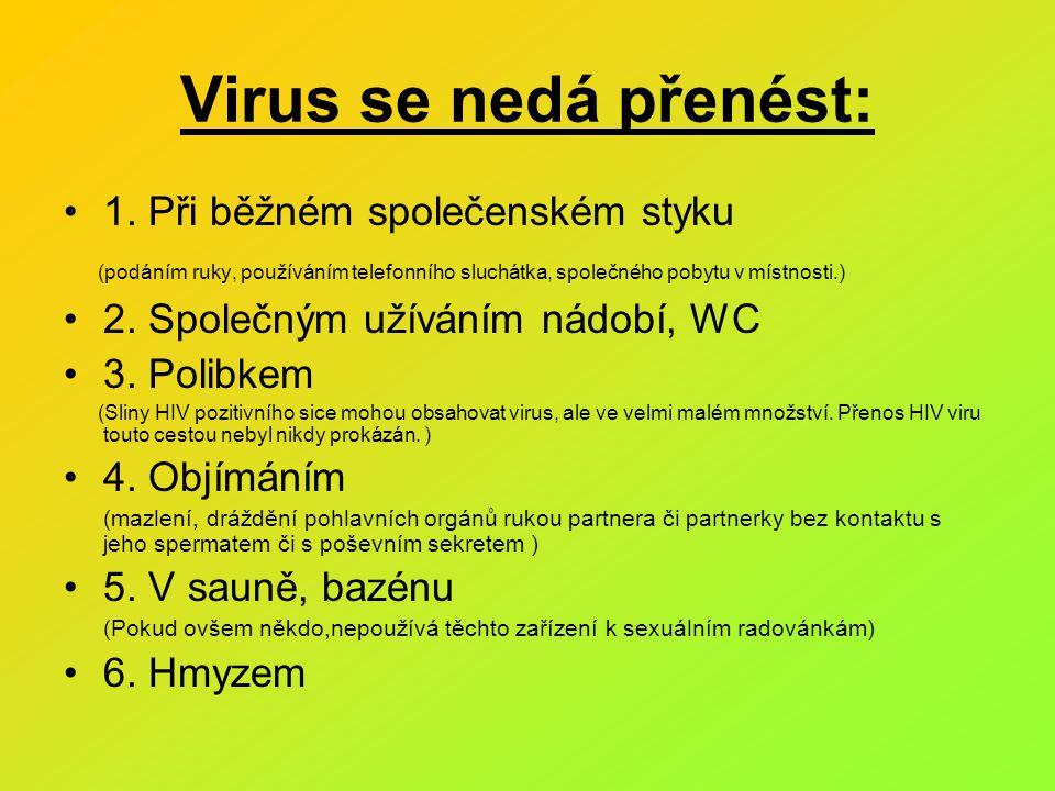 Virus se nedá přenést: 1. Při běžném společenském styku