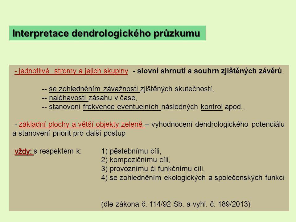 Interpretace dendrologického průzkumu