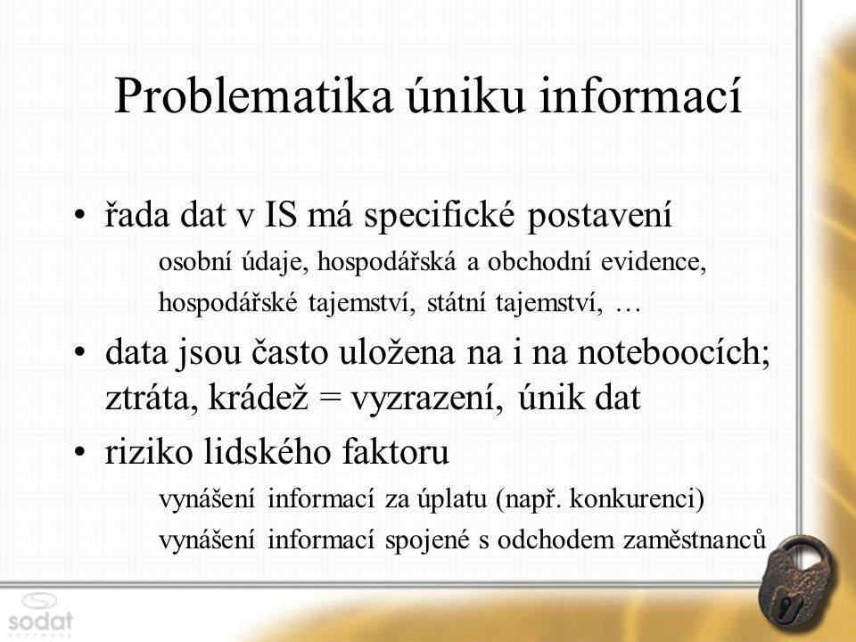 Problematika úniku informací