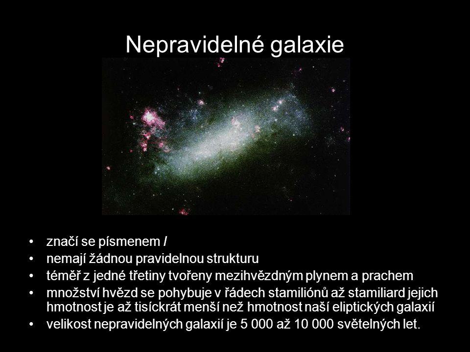 Nepravidelné galaxie značí se písmenem I