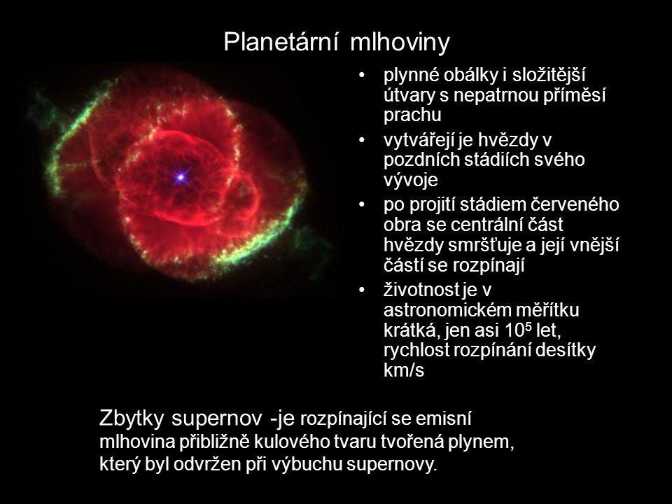 Planetární mlhoviny plynné obálky i složitější útvary s nepatrnou příměsí prachu. vytvářejí je hvězdy v pozdních stádiích svého vývoje.