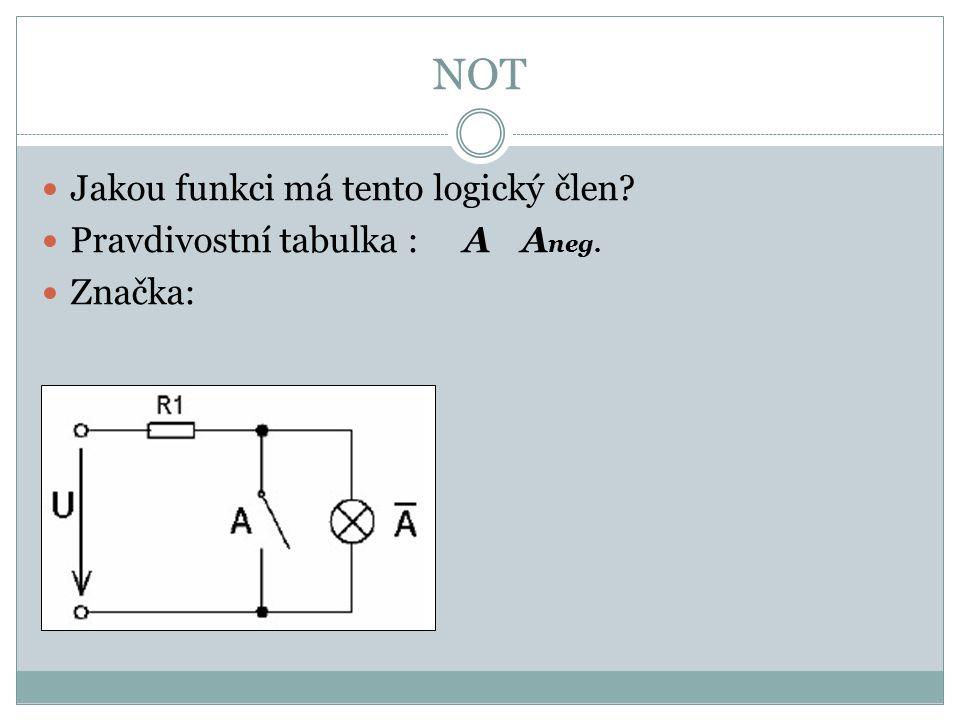 NOT Jakou funkci má tento logický člen Pravdivostní tabulka : A Aneg.