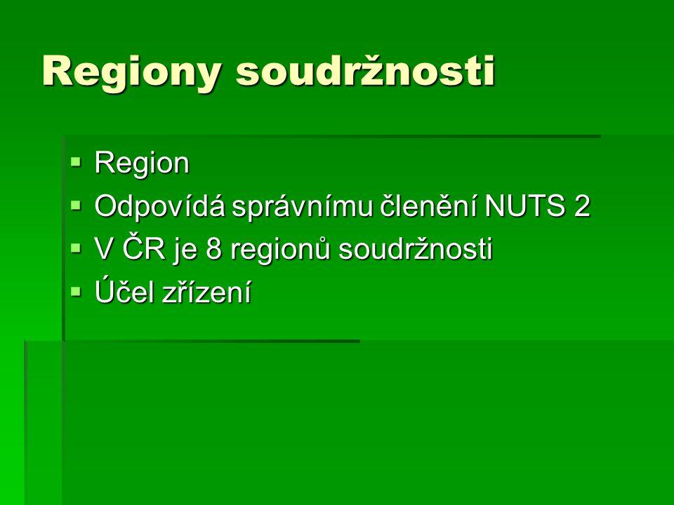 Regiony soudržnosti Region Odpovídá správnímu členění NUTS 2