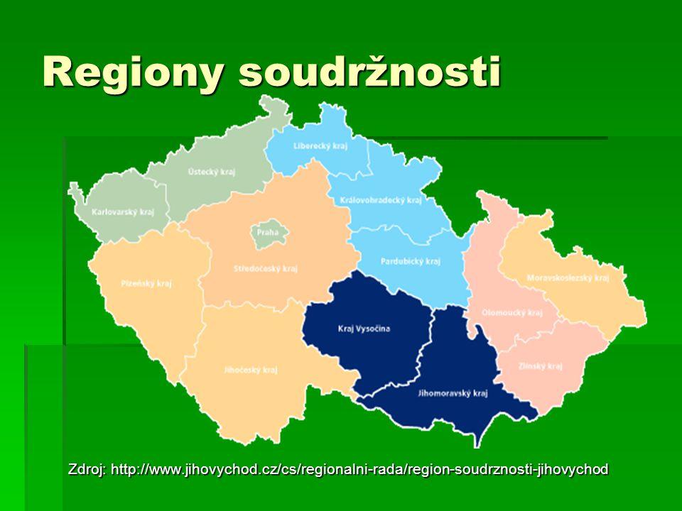 Regiony soudržnosti Zdroj: http://www.jihovychod.cz/cs/regionalni-rada/region-soudrznosti-jihovychod.