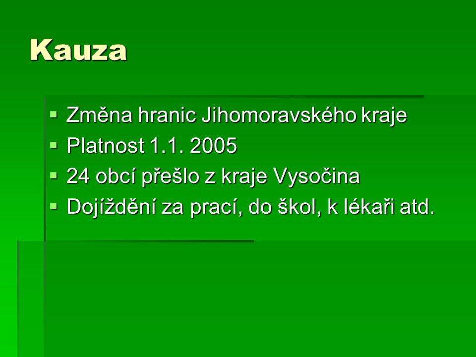 Kauza Změna hranic Jihomoravského kraje Platnost 1.1. 2005