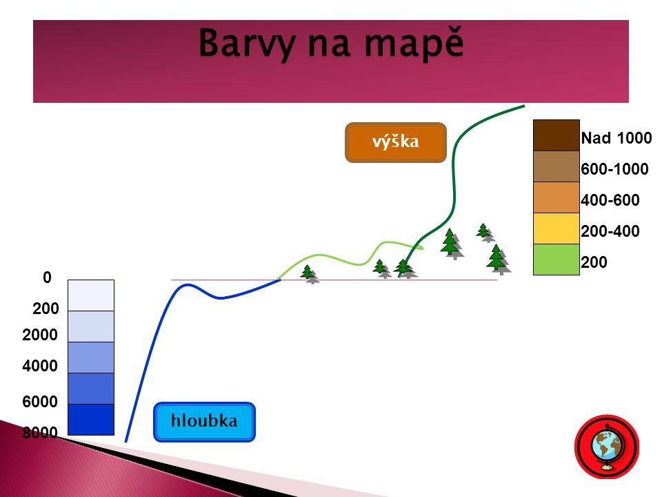 Barvy na mapě Nad 1000 výška 600-1000 400-600 200-400 200 200 2000