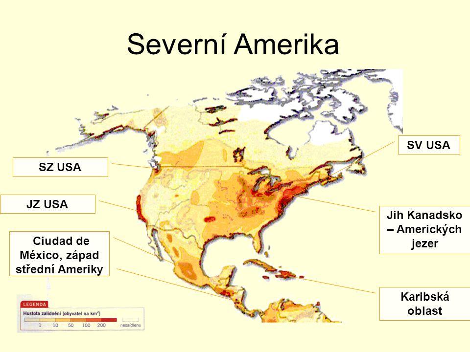 Severní Amerika SV USA SZ USA JZ USA Jih Kanadsko – Amerických jezer