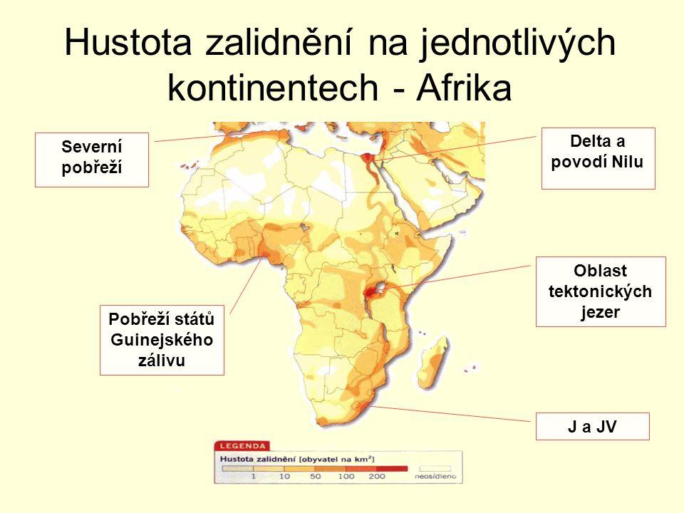 Hustota zalidnění na jednotlivých kontinentech - Afrika