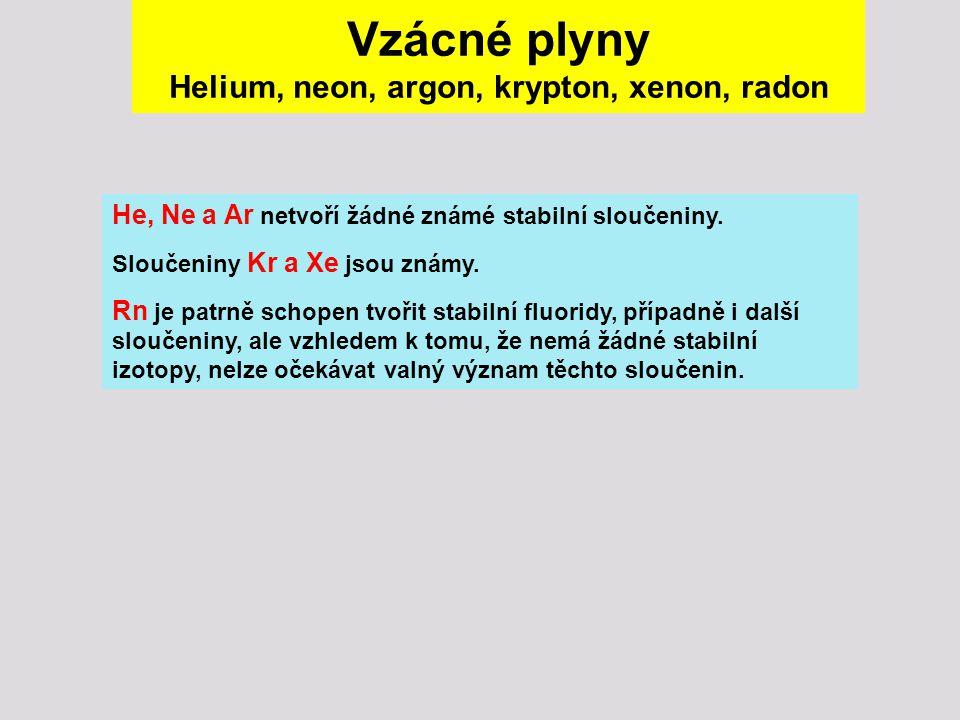 Vzácné plyny Helium, neon, argon, krypton, xenon, radon