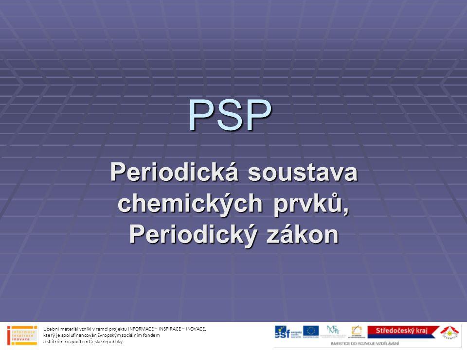 Periodická soustava chemických prvků, Periodický zákon