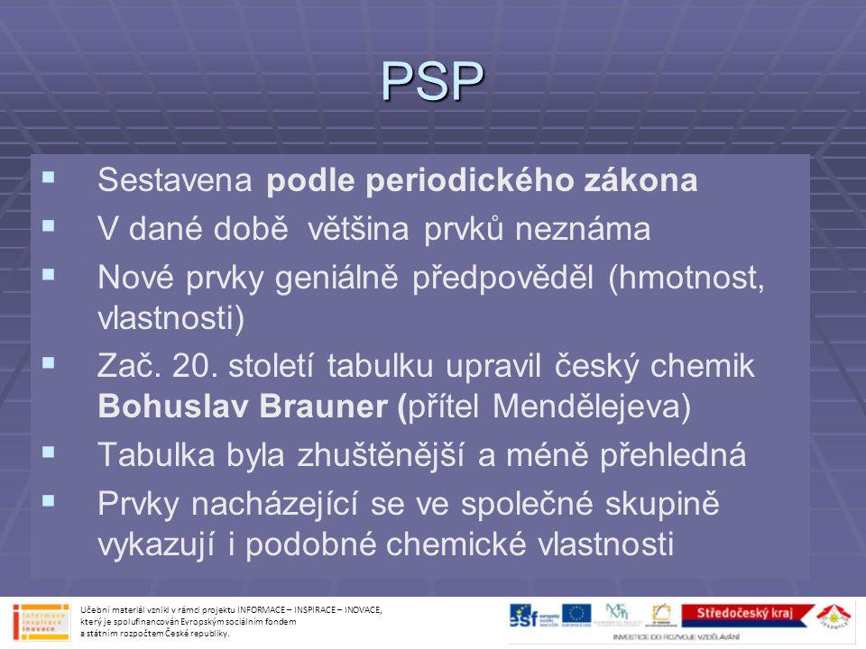 PSP Sestavena podle periodického zákona
