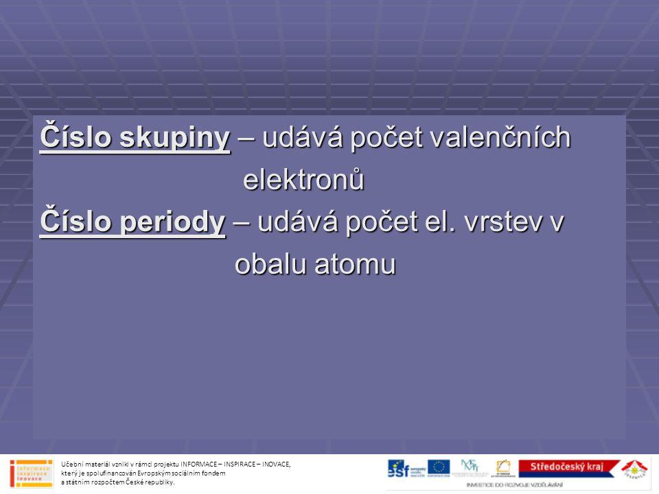 Číslo skupiny – udává počet valenčních elektronů