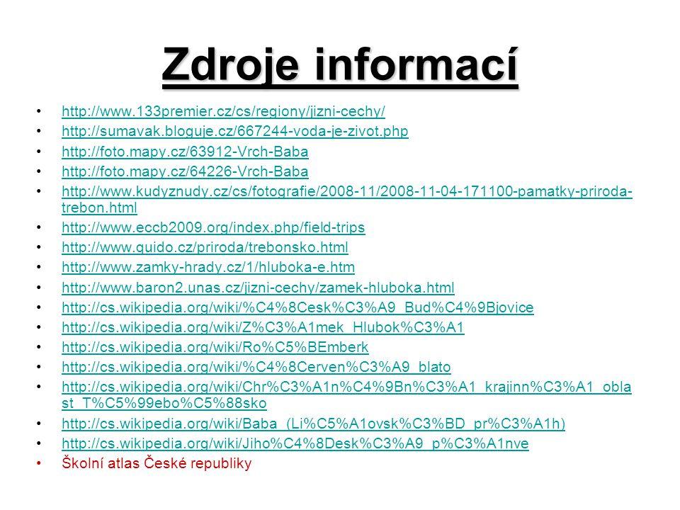 Zdroje informací http://www.133premier.cz/cs/regiony/jizni-cechy/
