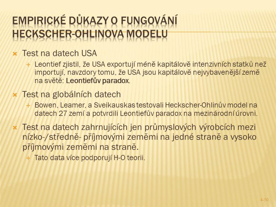 Empirické důkazy o fungování Heckscher-Ohlinova Modelu