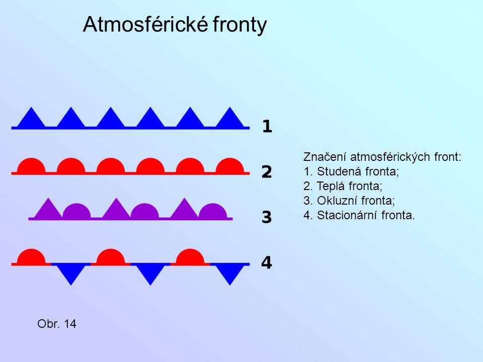 Atmosférické fronty Značení atmosférických front: 1. Studená fronta;