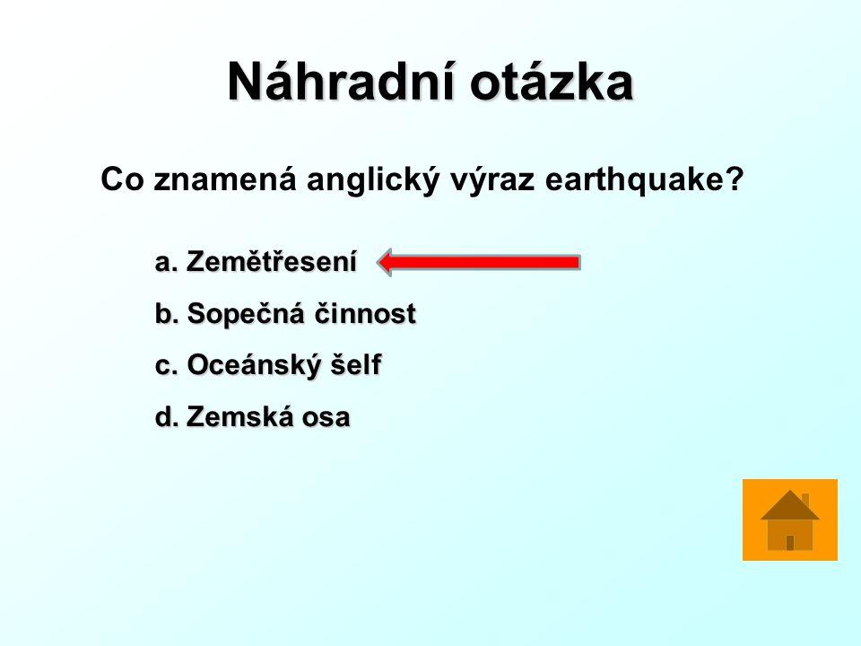 Náhradní otázka Co znamená anglický výraz earthquake Zemětřesení
