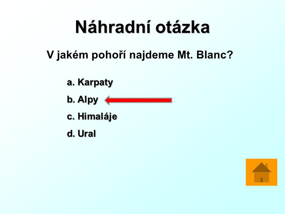 Náhradní otázka V jakém pohoří najdeme Mt. Blanc Karpaty Alpy