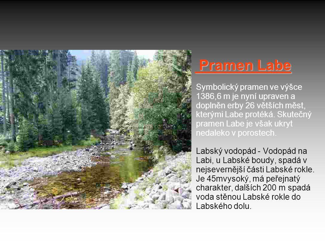 Pramen Labe Symbolický pramen ve výšce 1386,6 m je nyní upraven a doplněn erby 26 větších měst, kterými Labe protéká.