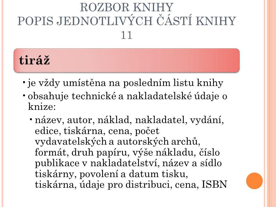 ROZBOR KNIHY POPIS JEDNOTLIVÝCH ČÁSTÍ KNIHY 11