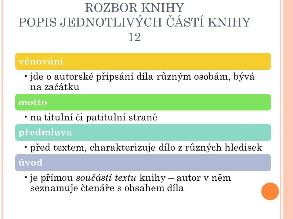 ROZBOR KNIHY POPIS JEDNOTLIVÝCH ČÁSTÍ KNIHY 12