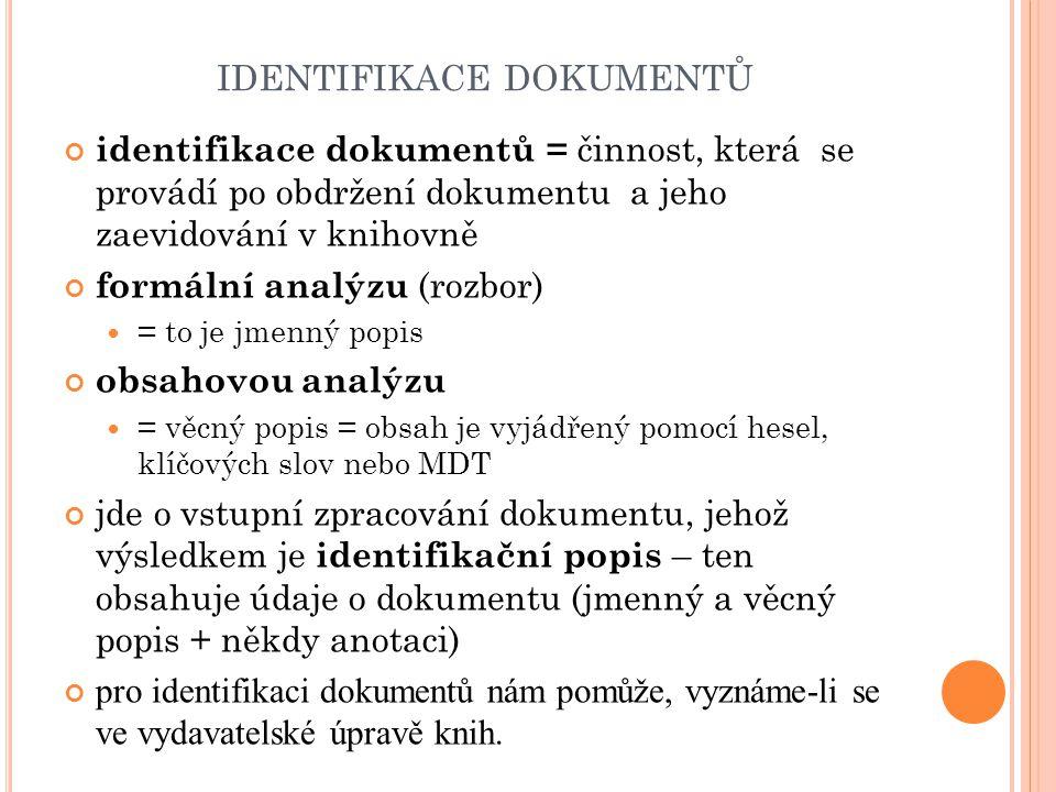 identifikace dokumentů