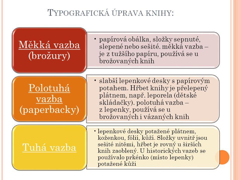 Typografická úprava knihy: