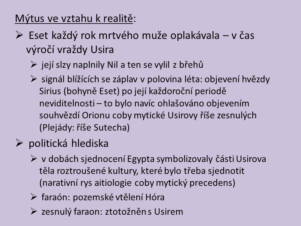 Mýtus ve vztahu k realitě: