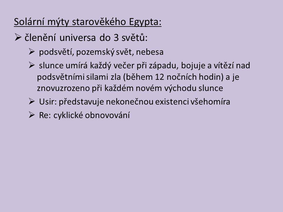 Solární mýty starověkého Egypta: členění universa do 3 světů:
