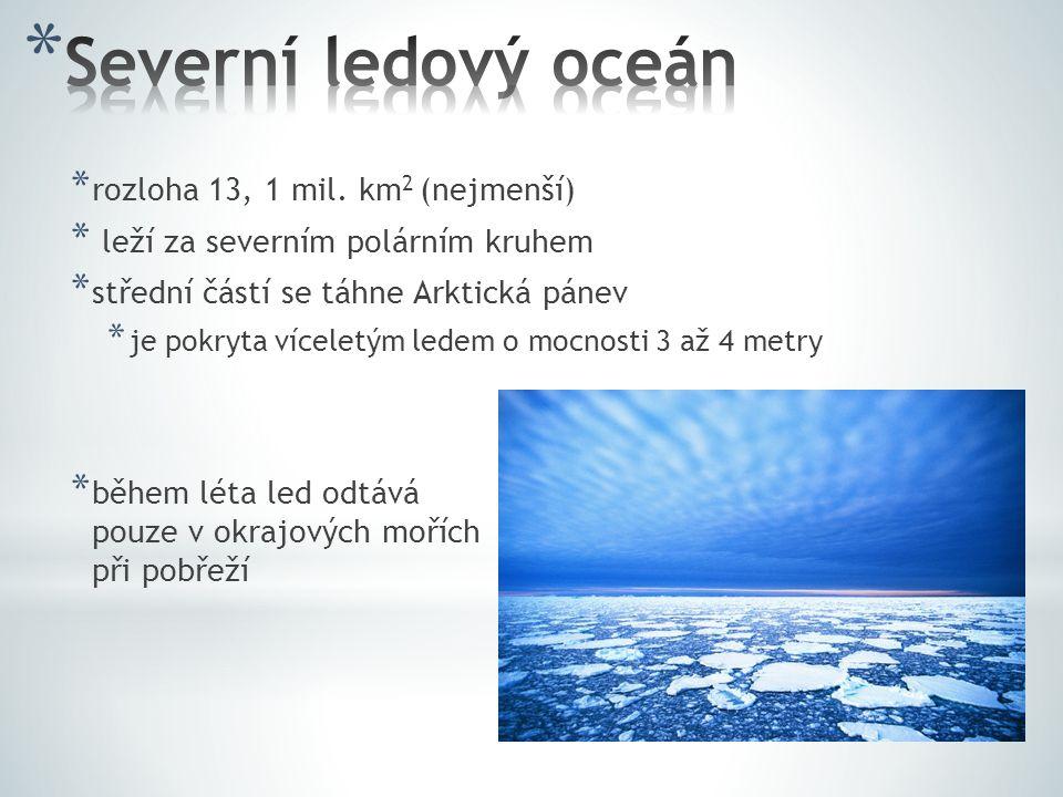 Severní ledový oceán rozloha 13, 1 mil. km2 (nejmenší)