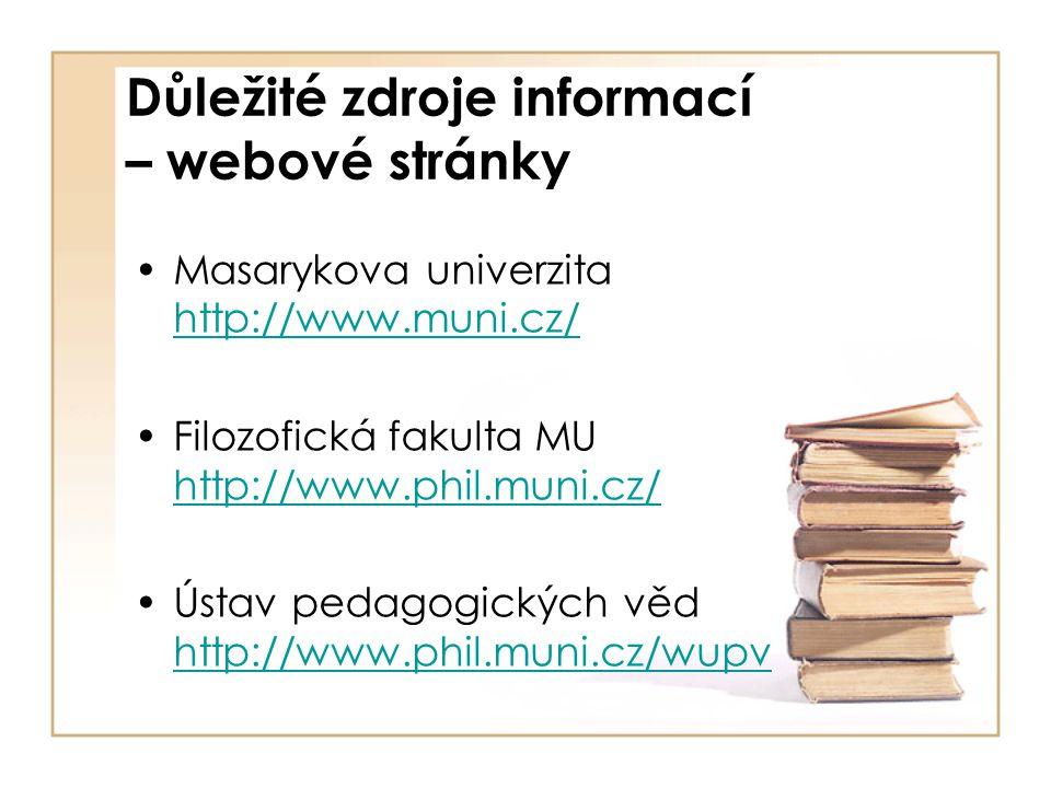 Důležité zdroje informací – webové stránky