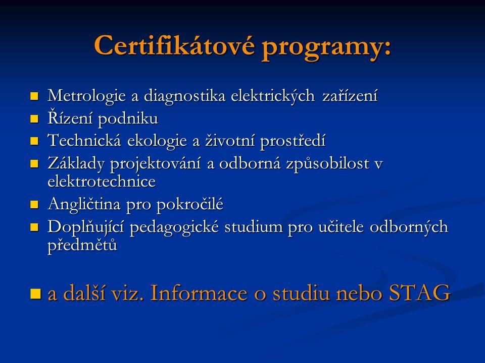 Certifikátové programy: