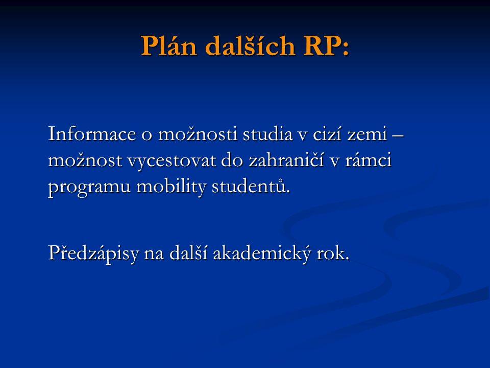 Plán dalších RP: Informace o možnosti studia v cizí zemi – možnost vycestovat do zahraničí v rámci programu mobility studentů.