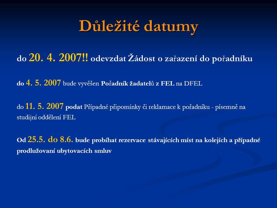 Důležité datumy do 20. 4. 2007!! odevzdat Žádost o zařazení do pořadníku. do 4. 5. 2007 bude vyvěšen Pořadník žadatelů z FEL na DFEL.