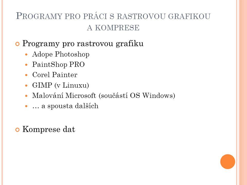 Programy pro práci s rastrovou grafikou a komprese