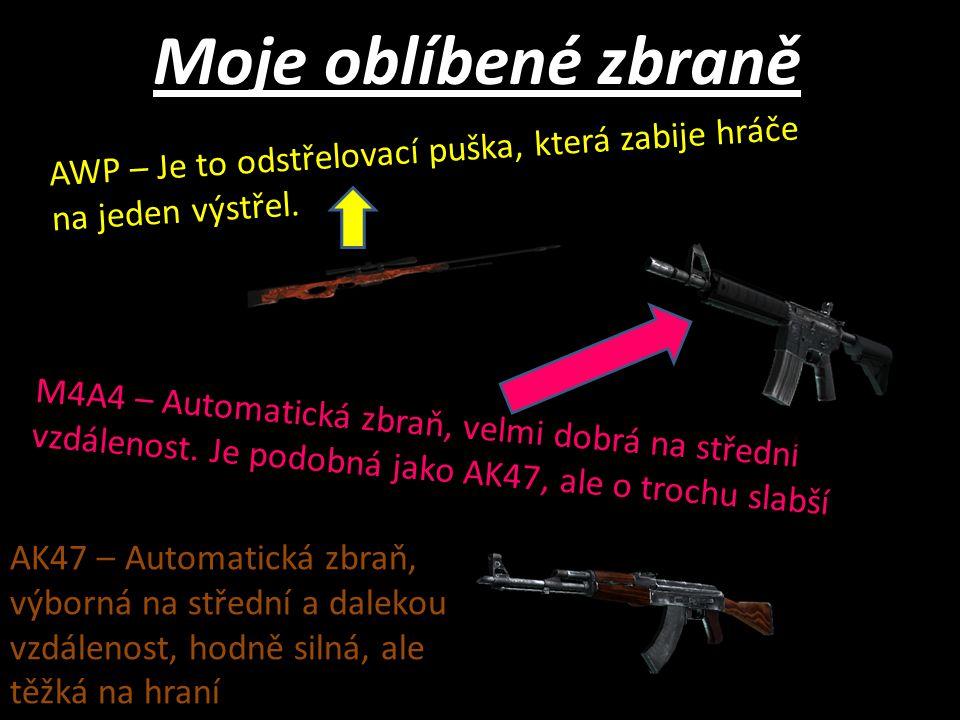 Moje oblíbené zbraně AWP – Je to odstřelovací puška, která zabije hráče na jeden výstřel.