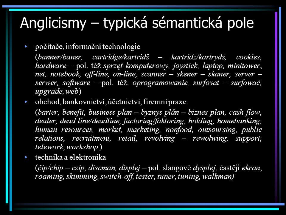 Anglicismy – typická sémantická pole