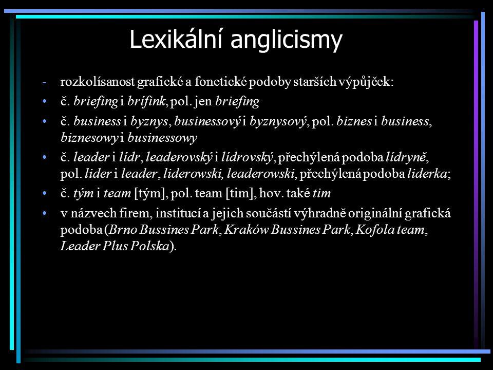 Lexikální anglicismy rozkolísanost grafické a fonetické podoby starších výpůjček: č. briefing i brífink, pol. jen briefing.