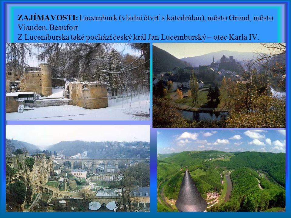 ZAJÍMAVOSTI: Lucemburk (vládní čtvrť s katedrálou), město Grund, město Vianden, Beaufort Z Lucemburska také pochází český král Jan Lucemburský – otec Karla IV.