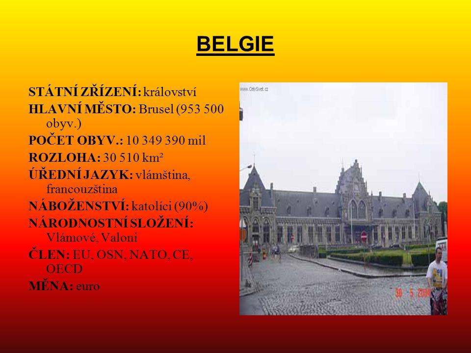 BELGIE STÁTNÍ ZŘÍZENÍ: království HLAVNÍ MĚSTO: Brusel (953 500 obyv.)