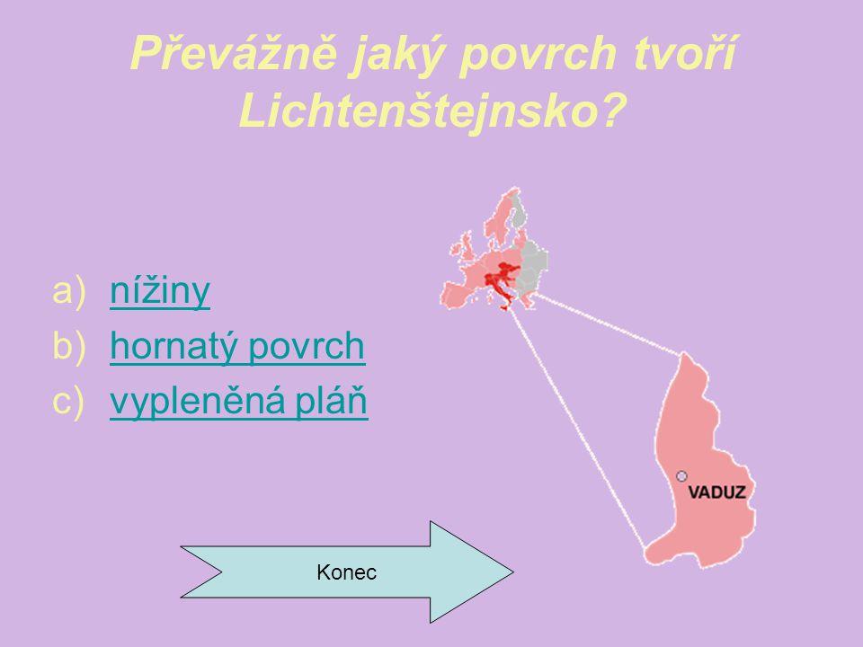 Převážně jaký povrch tvoří Lichtenštejnsko