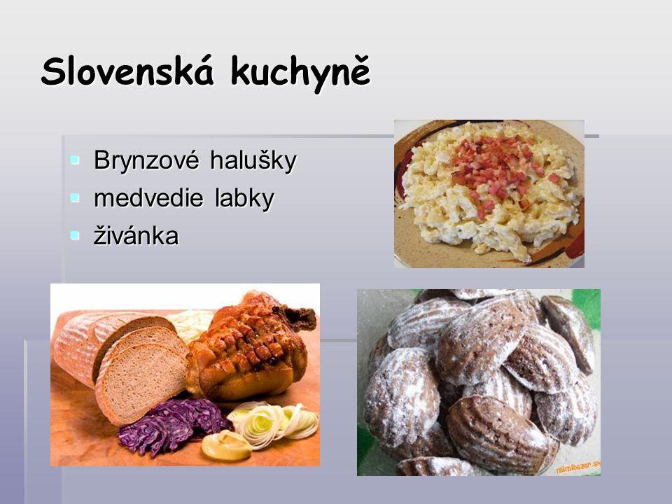 Slovenská kuchyně Brynzové halušky medvedie labky živánka