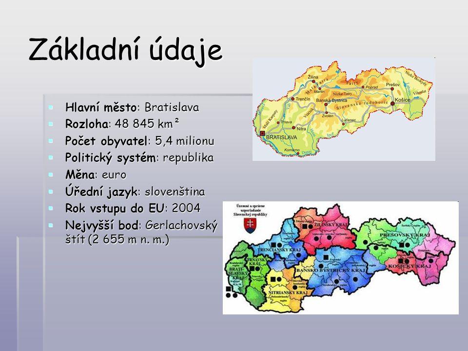 Základní údaje Hlavní město: Bratislava Rozloha: 48 845 km²